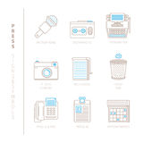 Set of vector press icons and concepts in mono thin line style Stock Photos