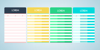 Set of vector pricing table in flat design Stock Images