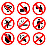 Set of vector prohibition signs Royalty Free Stock Photography