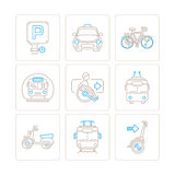 Set of vector public transport icons and concepts in mono thin line style.  Royalty Free Stock Photos