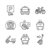 Set of vector public transport icons in ketch style Royalty Free Stock Images