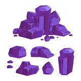 Set of vector purple crystals white background Stock Photo