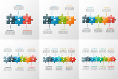 Set of vector puzzle style timeline infographic templates Royalty Free Stock Image