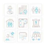 Set of vector real estate icons and concepts in mono thin line style Stock Photo