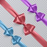 Set of vector realistic blue, purple and orange ribbon and bows on transparent background. Vector eps 10 Royalty Free Stock Photography