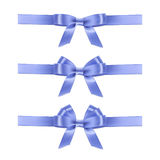 Set of vector realistic blue ribbons and bows. Royalty Free Stock Photo