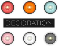 Set of vector realistic candles with lights isolated, flat lay top view vector illustration