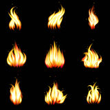 Set of vector realistic fire. Heat and blaze, energy and bonfire illustration Royalty Free Stock Image