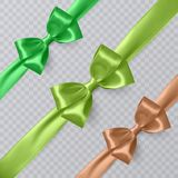 Set of vector realistic green, yellow and orange ribbon and bows on transparent background. Vector eps 10 Royalty Free Stock Photography