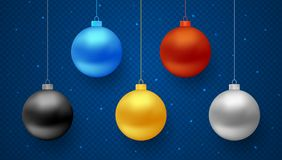 Set of vector realistic hanging Christmas balls. Set of realistic hanging Christmas balls for decoration in blue, red, gold, black and silver color  on Royalty Free Stock Photo