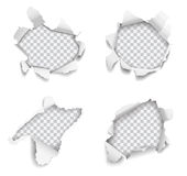 Set of vector realistic holes torn in paper on white background.  Stock Images