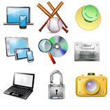 Set 9 vector realistic icons Royalty Free Stock Photos