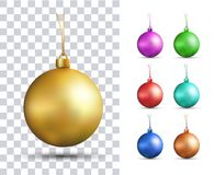 Set of vector realistic multicolored Christmas balls Royalty Free Stock Image