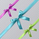 Set of vector realistic pink, blue and green ribbon and bows on transparent background. Vector eps 10 Royalty Free Stock Images