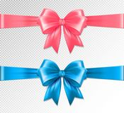 Set of vector realistic pink and blue ribbon and bows on transparent background. Vector eps 10 vector illustration