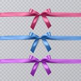 Set of vector realistic pink, purple and blue ribbon and bows on transparent background. Vector eps 10. Set of vector realistic pink, purple and blue ribbon and vector illustration