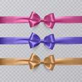 Set of vector realistic pink, purple and orange ribbon and bows on transparent background. Vector eps 10 Royalty Free Stock Photography
