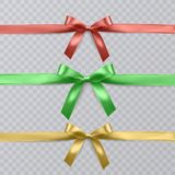Set of vector realistic red, green and yellow ribbon and bows on transparent background. Vector eps 10 Royalty Free Stock Images