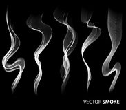 Set of Vector realistic smoke on black background Royalty Free Stock Photos