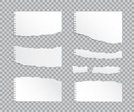 Set of vector realistic torn paper pieces on transparent background. vector illustration