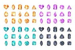 Set of vector realistic turquoise, black, purple, orange gems and jewels on white background. Multicolor shiny diamonds vector illustration