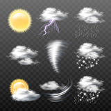 Set of vector realistic weather icons  on transparent background. Set of vector realistic weather icons - sun, clouds, thunderstorm with lightning, tornado, wind Stock Photos