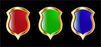 The set vector red blue and green shield Stock Photo