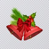 Set of vector red Christmas bells with realistic bows and holly, isolated on transparent background. Vector illustration Royalty Free Stock Photos