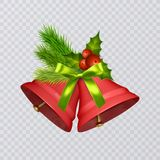 Set of vector red Christmas bells with realistic bows and holly, isolated on transparent background. Vector illustration Royalty Free Stock Photo
