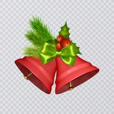 Set of vector red Christmas bells with realistic bows and holly, isolated on transparent background. Vector illustration Stock Images