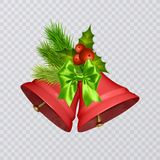 Set of vector red Christmas bells with realistic bows and holly, isolated on transparent background. Vector illustration Stock Photo