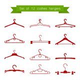 Set of 12 vector red clothes hangers Royalty Free Stock Photos