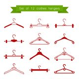 Set of 12 vector red clothes hangers Stock Images