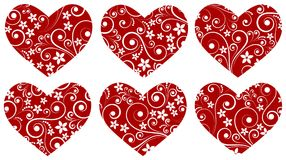 Set of vector hearts with florish desing for Valentines cards. Set of vector red hearts with flourish curved design stock illustration