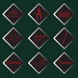 Set vector red icons of drawing accessories Stock Images