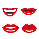 Set of vector red lips. Various types of woman lips. Broad smile with teeth, slight smile and kissing lips Royalty Free Stock Photo