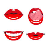 Set of vector red lips. Stock Image