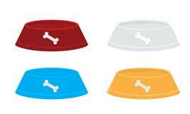 Set of Vector red pets bowls for dry food and water. Solid and flat color design. Set of Vector red pets bowls for dry food and water isolated with solid and Stock Photos