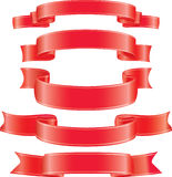 Set of vector red ribbons. CMYK Royalty Free Stock Photography