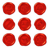 Set of vector red wax seals isolated on white Stock Image