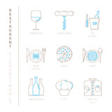 Set of vector restaurant icons and concepts in mono thin line style Stock Image