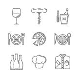Set of vector restaurant icons and concepts in sketch style Stock Photography