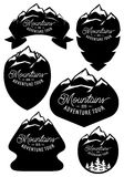 Set vector retro badge templates with mountains and forests Stock Image