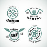 Set of Vector Retro Bicycle Custom Labels or Logos.  Royalty Free Stock Photo