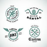Set of Vector Retro Bicycle Custom Labels or Logos. Isolated Stock Image