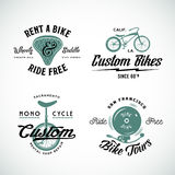 Set of Vector Retro Bicycle Custom and Rental Stock Image