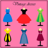 Set of 6 vector retro cocktail dresses on a mannequin. Royalty Free Stock Image