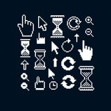 Set of vector retro cursor signs made in pixel art style. Simpli. Stic arrows pointing at different directions. Geometric pixilated symbols like pointers and Royalty Free Stock Images
