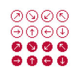 Set of vector retro cursor signs made in pixel art style. Simpli Royalty Free Stock Photo