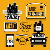 Set of vector retro design element for taxi Royalty Free Stock Photo